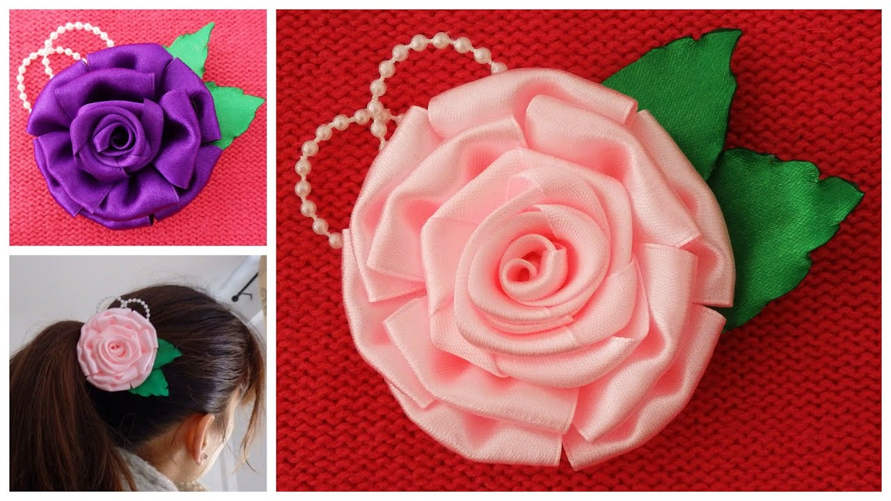 Diy satin ribbon rose satin flower tutorial how to make for Flower making ideas step by step