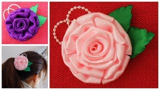 Diy satin ribbon rose,satin flower tutorial,how to make ribbon flower, easy satin rose