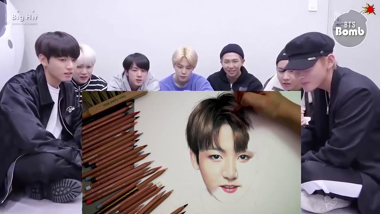 Cảm Xúc Của BTS Khi Xem Vẽ chân dung Jungkook