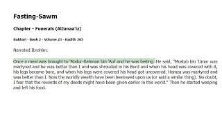 Fasting-Sawm - in Funerals (AlJanaa'iz) -Bukhari Hadith