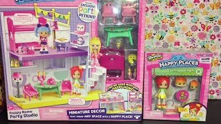 Shopkins Happy Home Party Studio & Shoppies Kristina Apples Toy Unboxing & Review