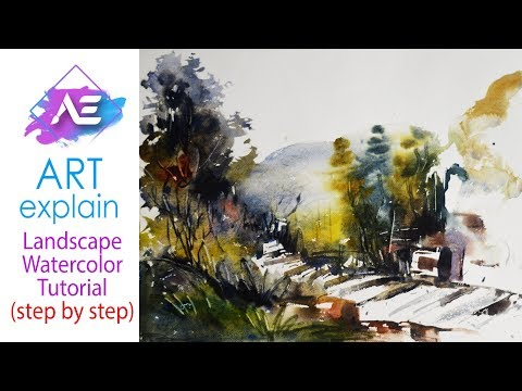 Watercolor Painting Landscape step by step | How to paint a watercolor landscape | Art Explain