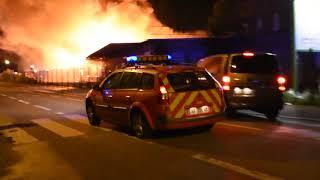 Incendie Entrepôt gare de triage nord Mulhouse Images de Vidéo Perception