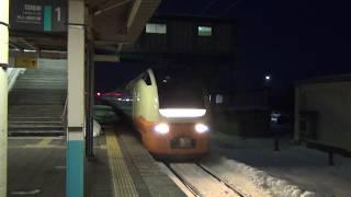 羽越本線金塚駅 特急いなほ9号E653系酒田行通過 2018.2.10