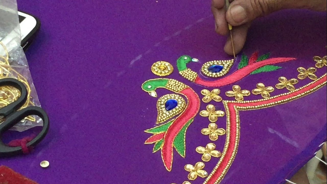 7045e0b934b5a Peacock Embroidery work on Pattu blouse - hnad Embroidery work - YouTube