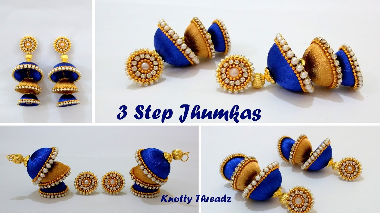 DIY | How to make Double Coloured 3 Step Jhumkas in a very easy ...