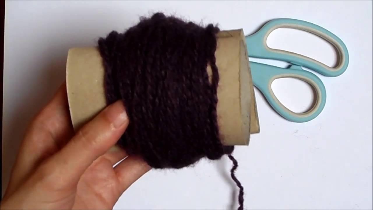 Como hacer pompon de lana con carton de papel higi nico - Como hacer pompones ...