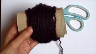 Como hacer pompon de lana con carton de papel higiénico