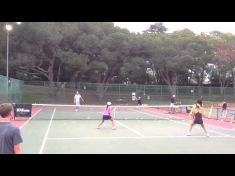 Claire Liu & Sophie Bendetti give a LiveBall spank to Al Hill and Austin Huang at Palisades Tennis