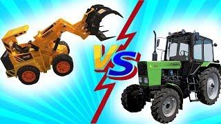 Играем в Большой песочнице - Экскаватор Бульдозер и Самосвал против игрушек - Видео для Мальчиков