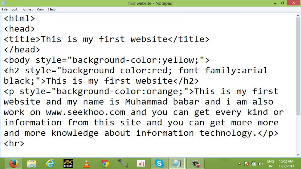 Background, Font color, and Style html Tags Class 4 in ...