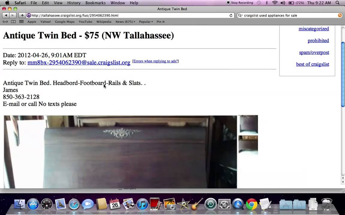 Under $100 Craigslist Used Furniture For Sale By Owner   YouTube