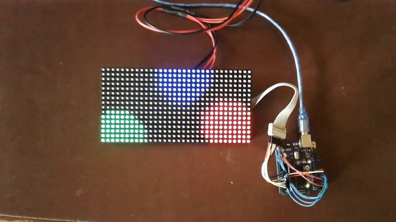 16x32 Rgb Led Matrix Display Arduino Youtube