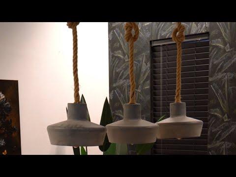 Industriële hanglamp Megan 3-lichts betonlook