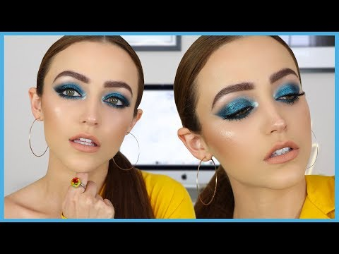 Bold Blue Makeup Tutorial + Trying Some NEW PRODUCTS | KIM K INSPIRED
