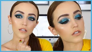 Bold Blue Makeup Tutorial + Trying Some NEW PRODUCTS | KIM K INSPIRED thumbnail