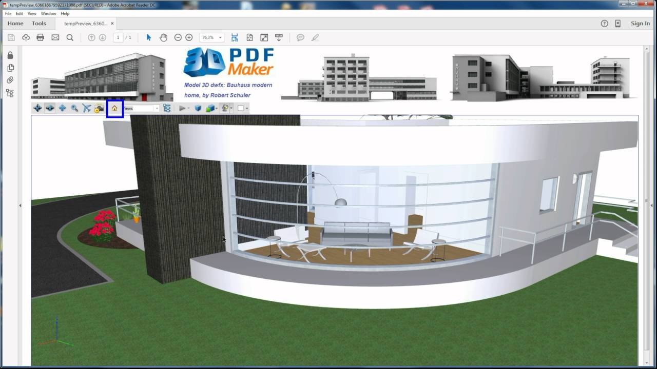 3D PDF Maker StandAlone Tutorial 2j  3D PDF with DWF and DWFx from Revit