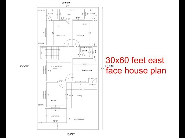 east facing house plans for 30x60 site