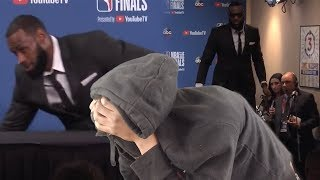 lebron walks out angry lebron james postgame interview nba finals game 1