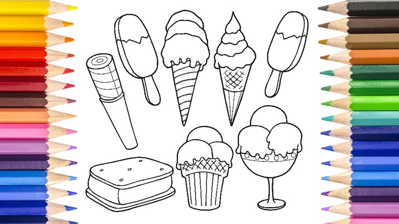 çocuklar Için Boyama Kağıdı Dondurma Resmiçizimi çocuklar Için