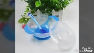 Обзор посылки с Алиэкспресс детский набор тарелка с термо-ложкой