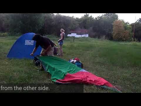 Camping Adventure in Serbia - How to set up a dome tent