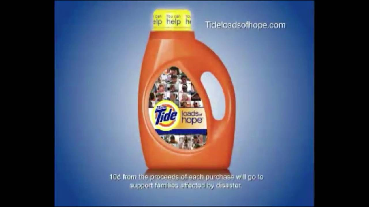 """Tide 'Loads of Hope' Campaign Ad: """"Yellow Capped Bottle ..."""