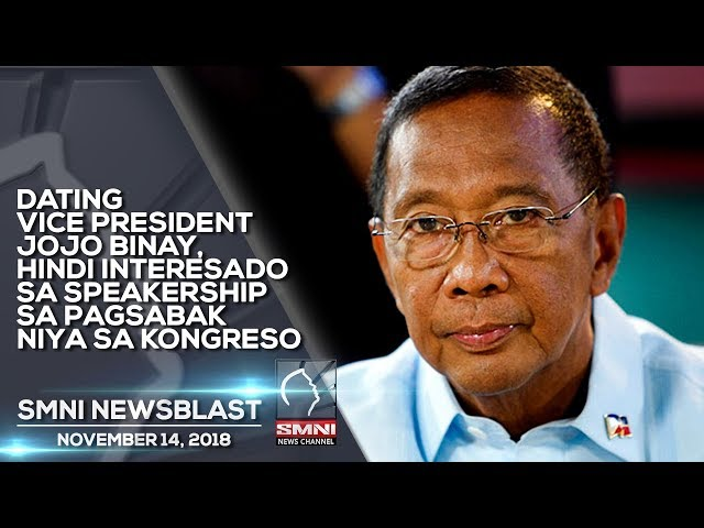 DATING VICE PRESIDENT JOJO BINAY, HINDI INTERESADO SA SPEAKERSHIP SA PAGSABAK NIYA SA KONGRESO