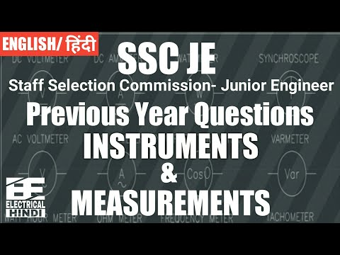 Instruments & Measurements Objective Questions asked in SSC-JE | Electrical Engg In Hindi |