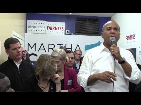 Deval Patrick Campaigns for Martha Coakley at Grove Hall