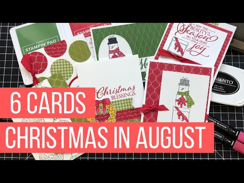 6 Simple Christmas Cards | FREE Christmas In August Card Class Video