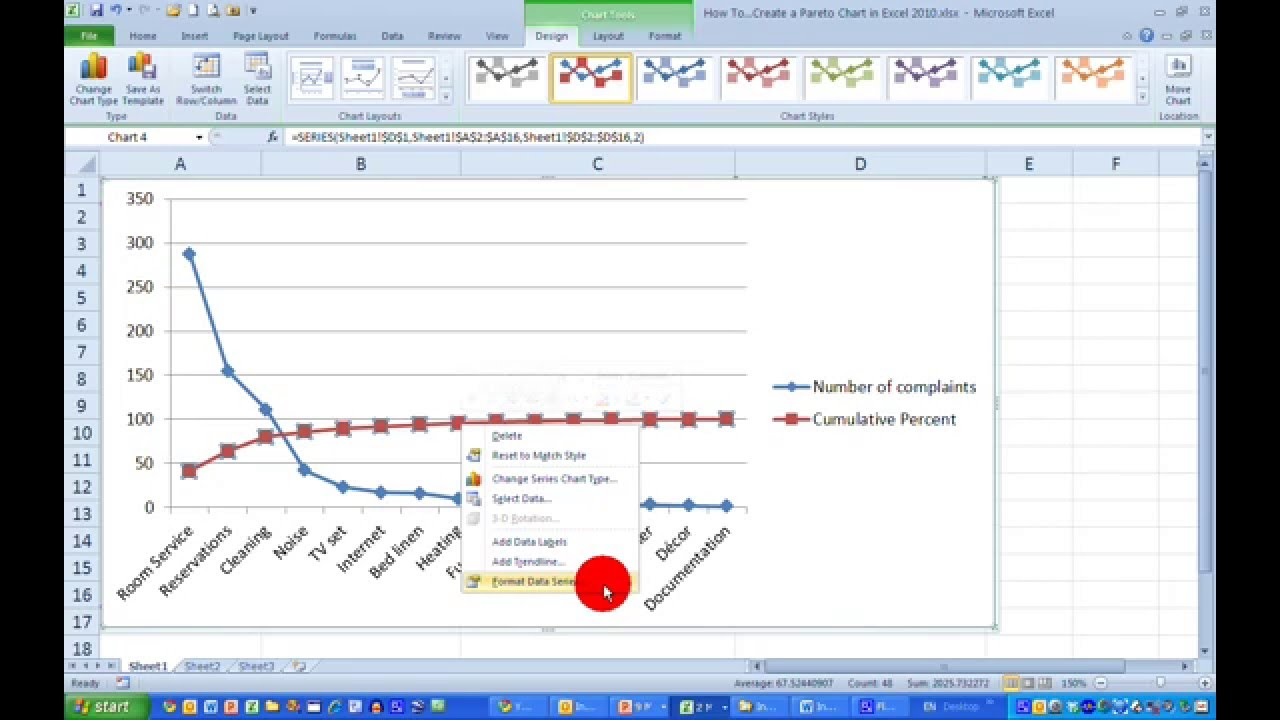 How To Create A Pareto Chart In Excel 2010 Youtube
