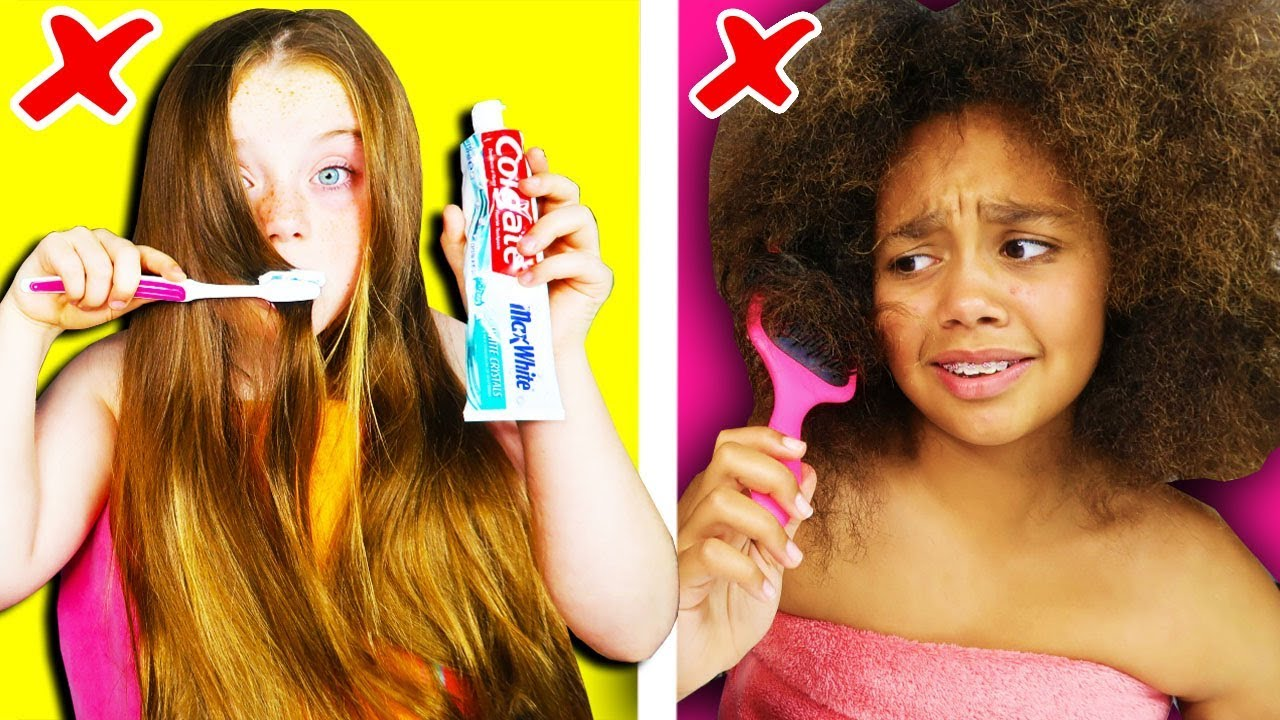 Girls Long Hair VS Curly Hair Struggles & Problems