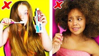 Girls Long Hair VS Curly Hair Struggles & Problems