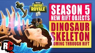 Dinosaur Skeleton Coming Through Rift in Fortnite (Final Season 5 Rift Object / All Rift Locations)
