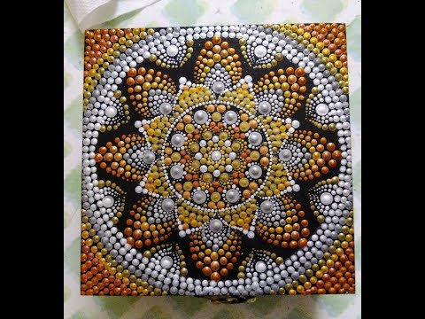 Dot mandala with swooshes on fridge magnet/coaster #46- full