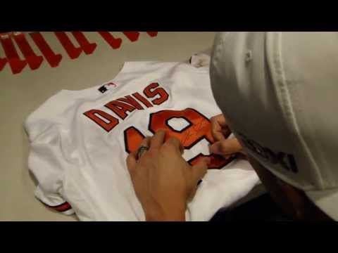 Chris Davis Signing A Game Used Jersey May 13, 2013 Baltimore Orioles For The Art Of The Game