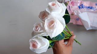 กุหลาบขาววันวานเลนไทน์ ทำดอกกุหลาบจากทิชชู ง่ายๆPaper Flower /Beautiful Paper Rose