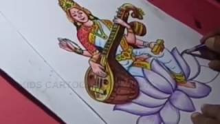 How to Draw Dussehra Navratri Goddess Saraswati Drawing Step by Step for Kids
