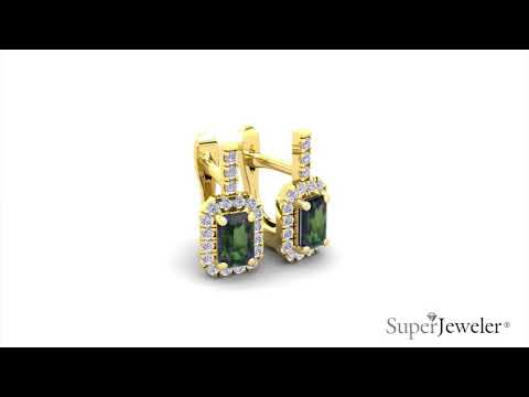 H051749 | Emerald Cut Mystic Topaz and Halo Diamond Dangle Earrings In 14K Yellow Gold