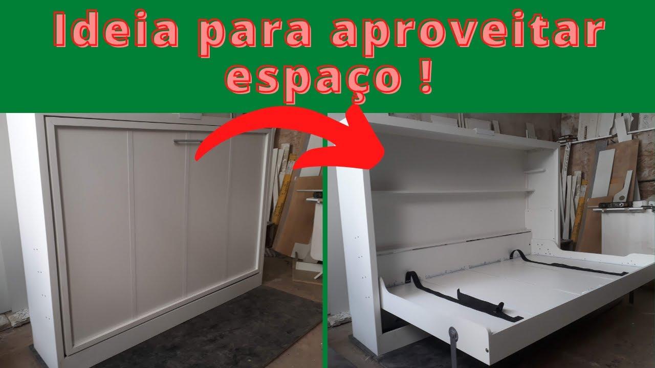 Cama de parede casal horizontal youtube for Sofa que vira beliche