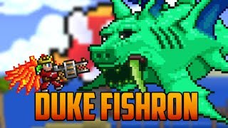Terraria - Duke Fishron Boss with Adamantite Armor & Gatligator