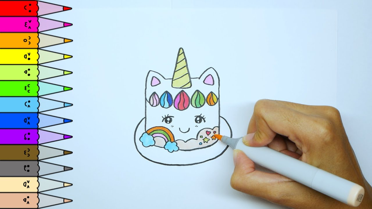How to draw a cute Unicorn cake |Speed drawing|Draw for ...