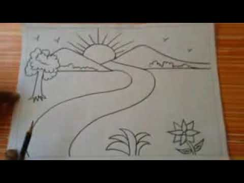 طريقه رسم منظر طبيعي Youtube