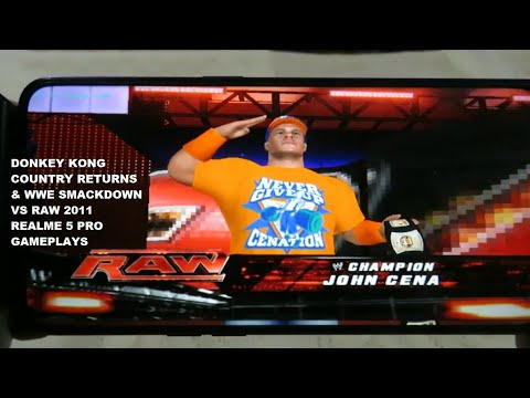 Realme 5 Pro Donkey Kong Country Returns & WWE Smackdown Vs Raw 2011 Gameplays Dolphin Emulator