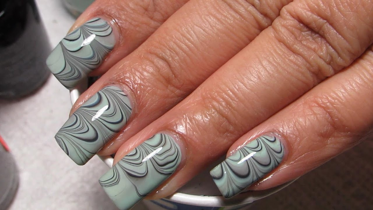 Mint Green Black Grey Water Marble Nail Art Tutorial Water