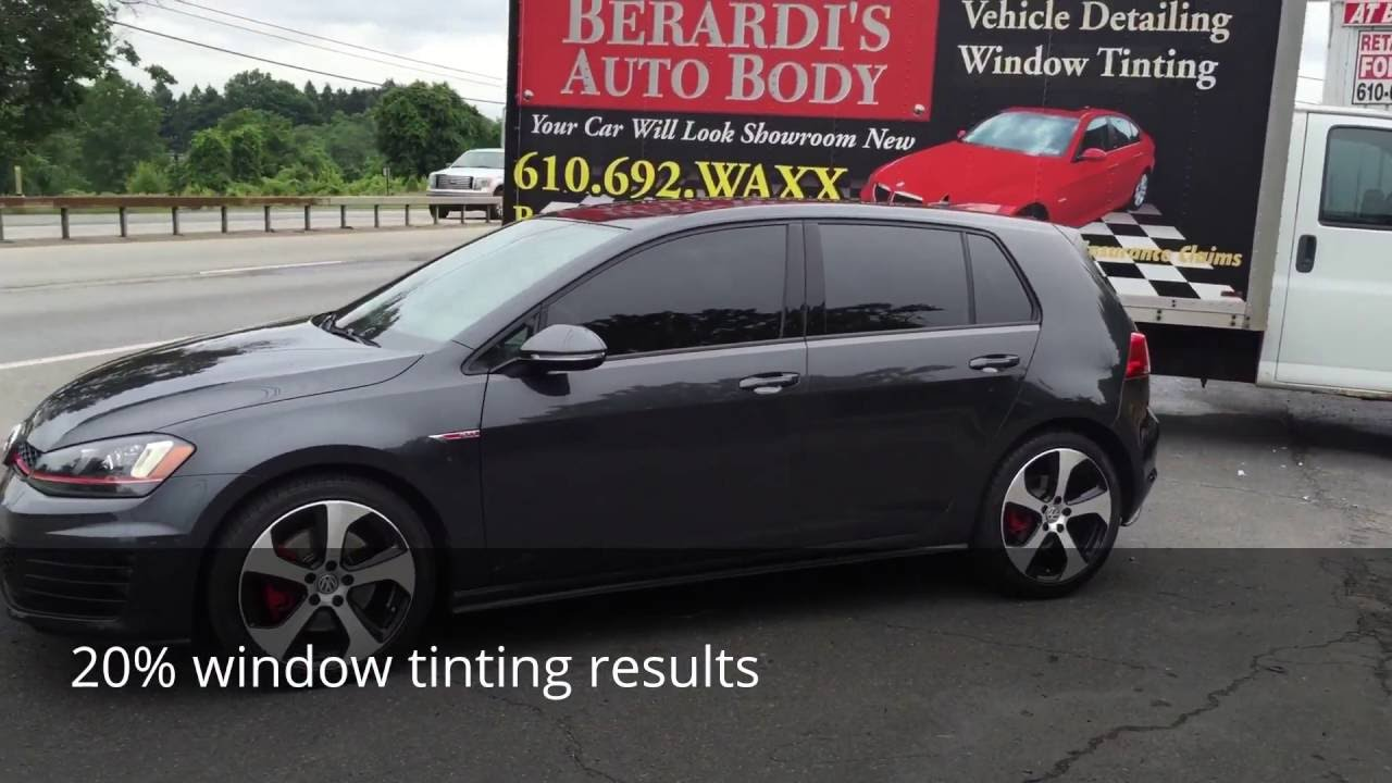 Window tinting on a volkswagen gti before after with 20 for 20 window tint