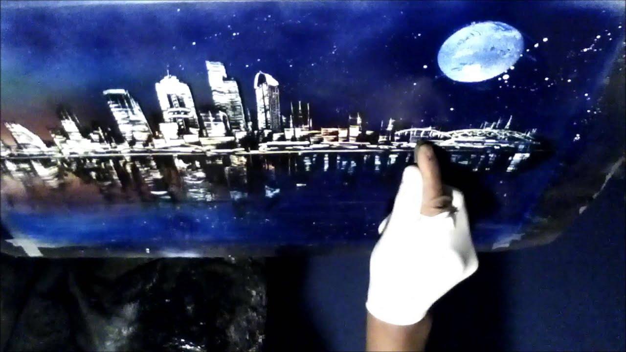 spray paint art by joseph francis seattle cityscape seattle 2013. Black Bedroom Furniture Sets. Home Design Ideas
