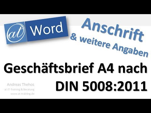 Din 5008 Anschrift Und Informationsblock Platzieren Word