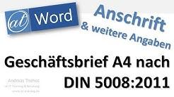 DIN 5008 Anschrift und Informationsblock platzieren - Word Geschäftsbrief